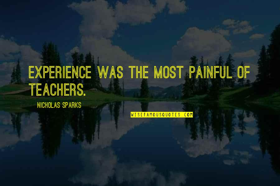 Never Insult Love Quotes By Nicholas Sparks: Experience was the most painful of teachers.