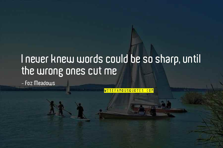 Never Knew Me Quotes By Foz Meadows: I never knew words could be so sharp,