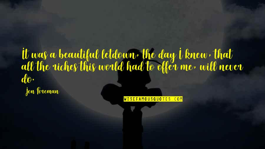 Never Knew Me Quotes By Jon Foreman: It was a beautiful letdown, the day I