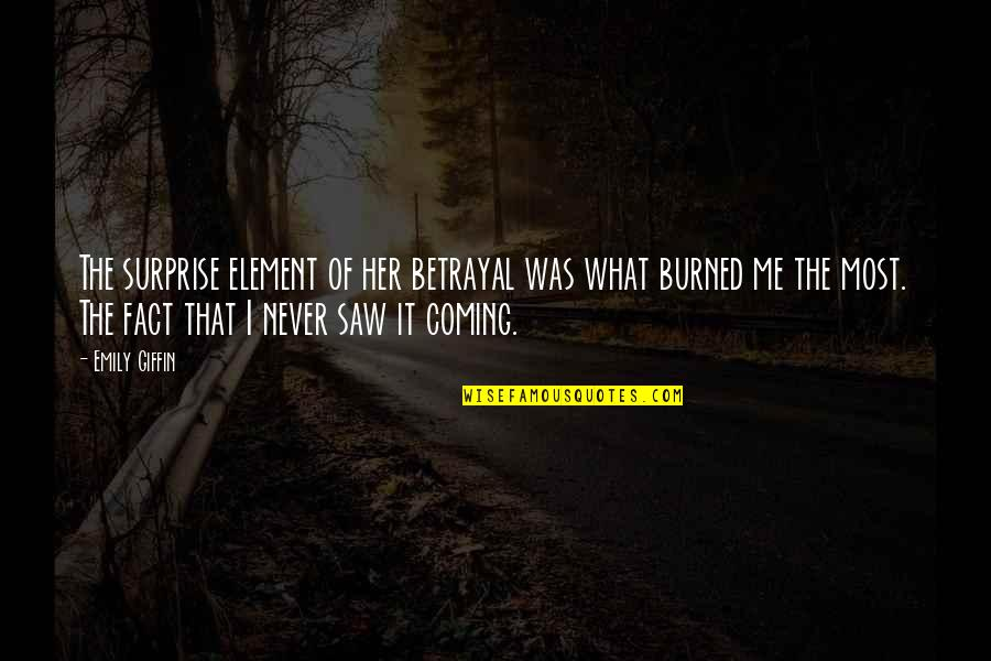 Never Saw It Coming Quotes By Emily Giffin: The surprise element of her betrayal was what