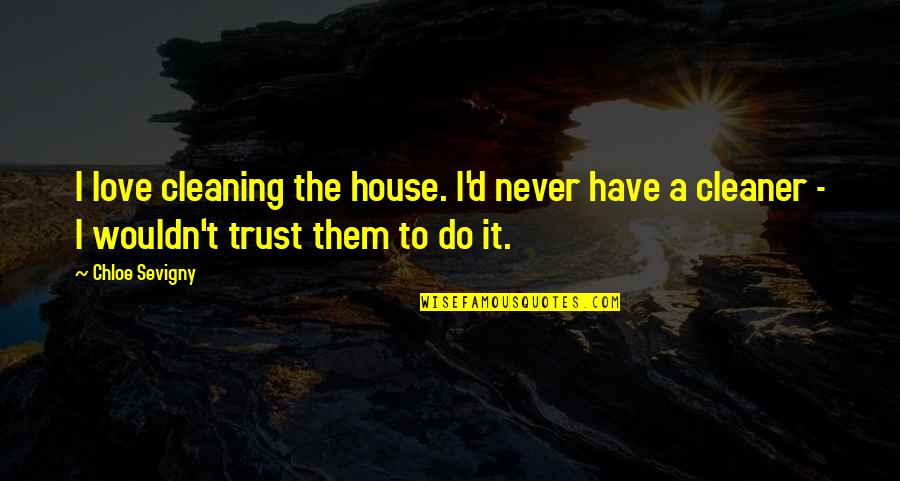 Never Trust Quotes By Chloe Sevigny: I love cleaning the house. I'd never have