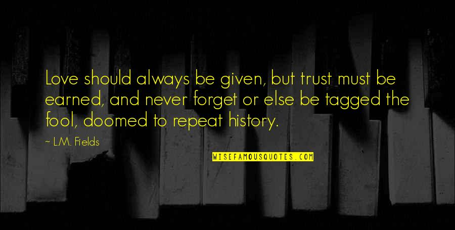 Never Trust Quotes By L.M. Fields: Love should always be given, but trust must