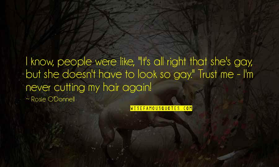 """Never Trust Quotes By Rosie O'Donnell: I know, people were like, """"It's all right"""
