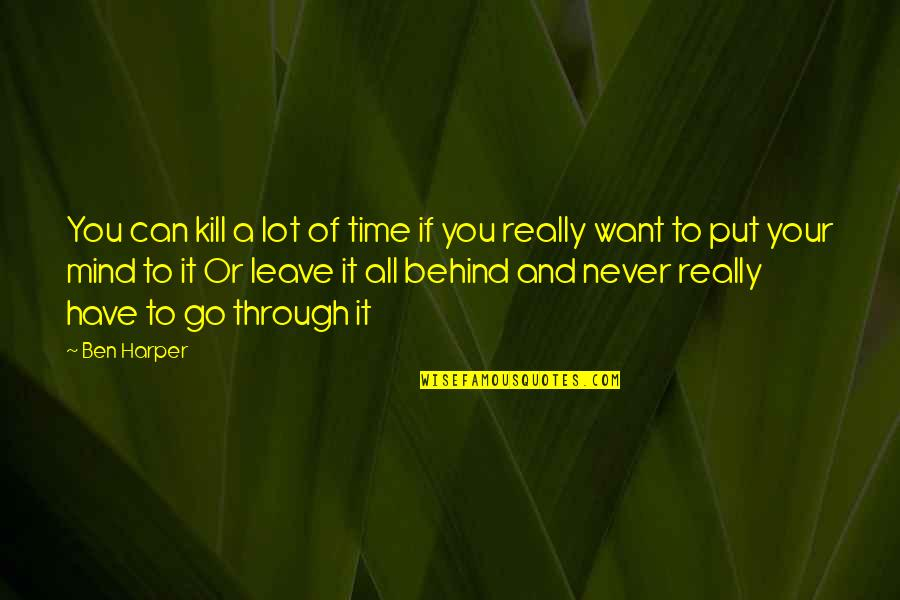 Never Want To Leave You Quotes By Ben Harper: You can kill a lot of time if