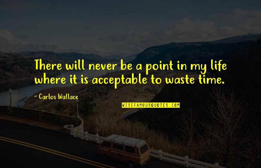 Never Waste My Time Quotes By Carlos Wallace: There will never be a point in my