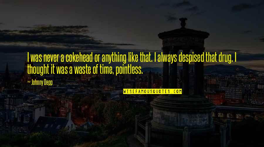 Never Waste My Time Quotes By Johnny Depp: I was never a cokehead or anything like