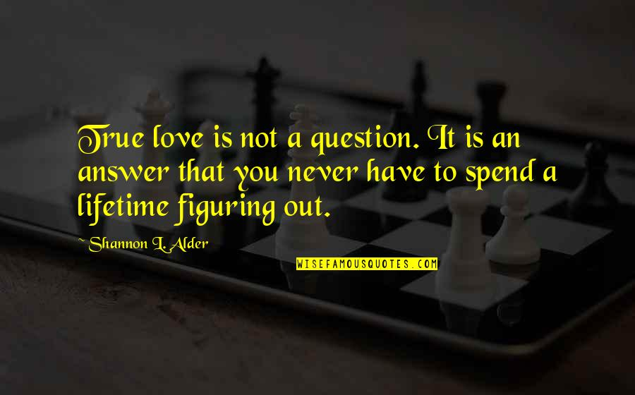 Never Waste My Time Quotes By Shannon L. Alder: True love is not a question. It is