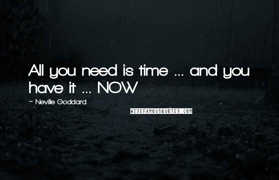Neville Goddard quotes: All you need is time ... and you have it ... NOW