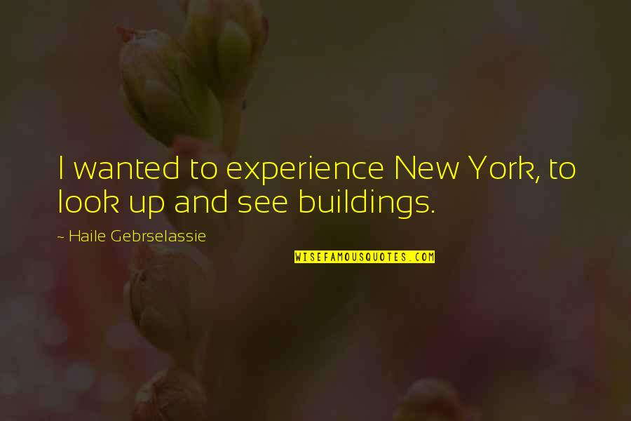 New Buildings Quotes By Haile Gebrselassie: I wanted to experience New York, to look