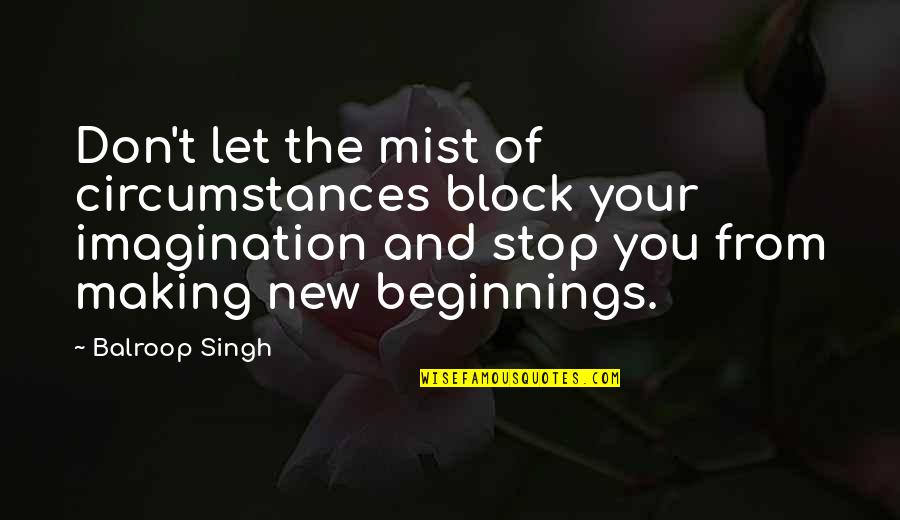 New Challenges Quotes By Balroop Singh: Don't let the mist of circumstances block your