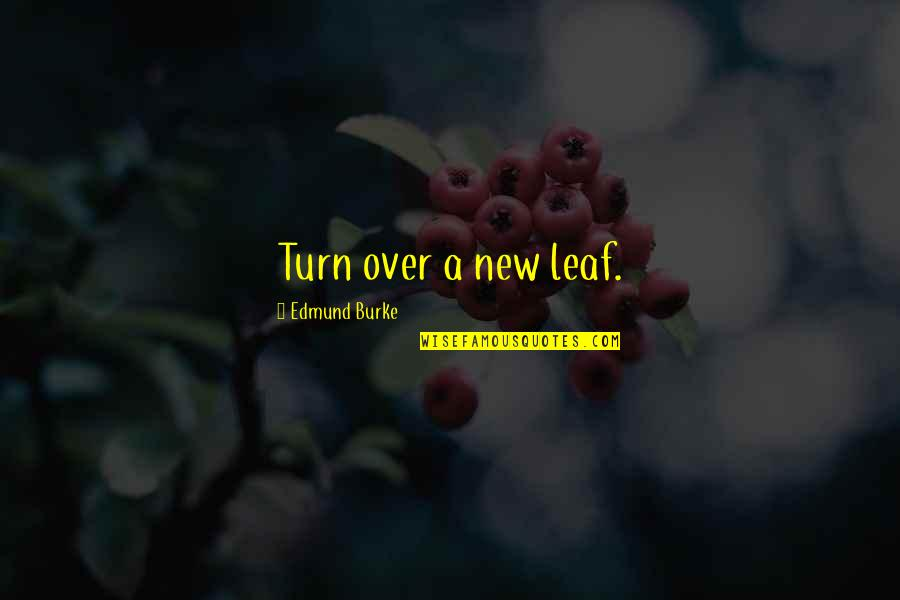 New Leaf Quotes By Edmund Burke: Turn over a new leaf.