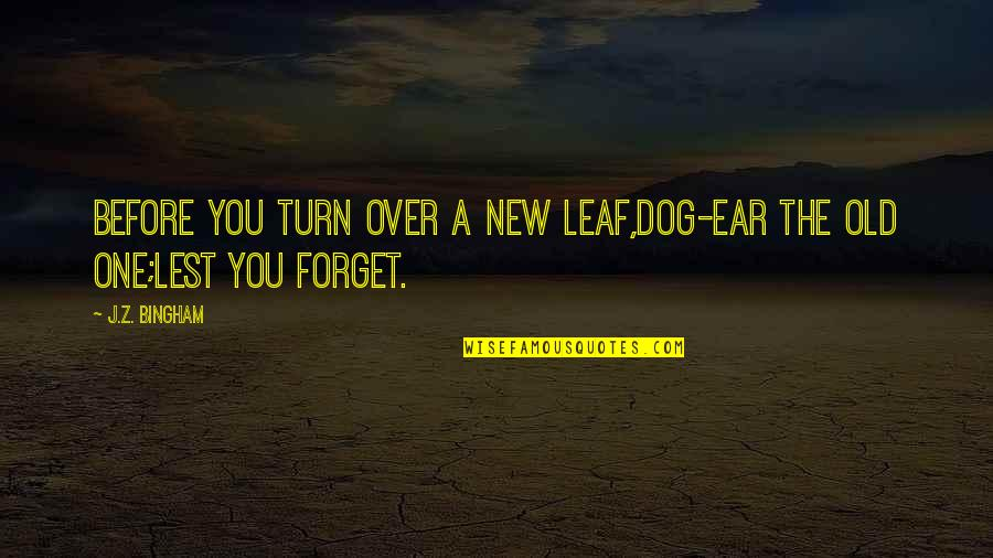 New Leaf Quotes By J.Z. Bingham: Before you turn over a new leaf,dog-ear the