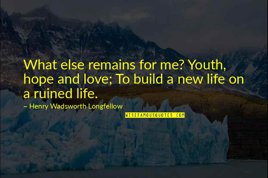 New Life New Me Quotes By Henry Wadsworth Longfellow: What else remains for me? Youth, hope and