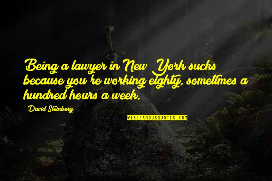 New Week Quotes By David Steinberg: Being a lawyer in New York sucks because