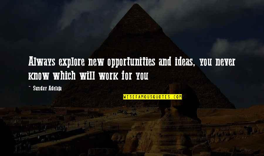 New Work Opportunities Quotes By Sunday Adelaja: Always explore new opportunities and ideas, you never