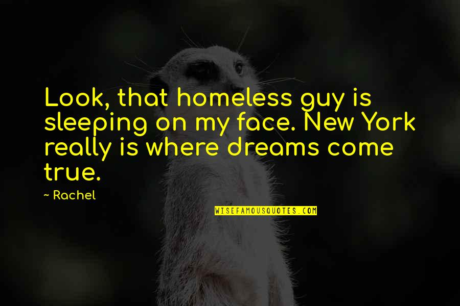 New York Dreams Quotes By Rachel: Look, that homeless guy is sleeping on my