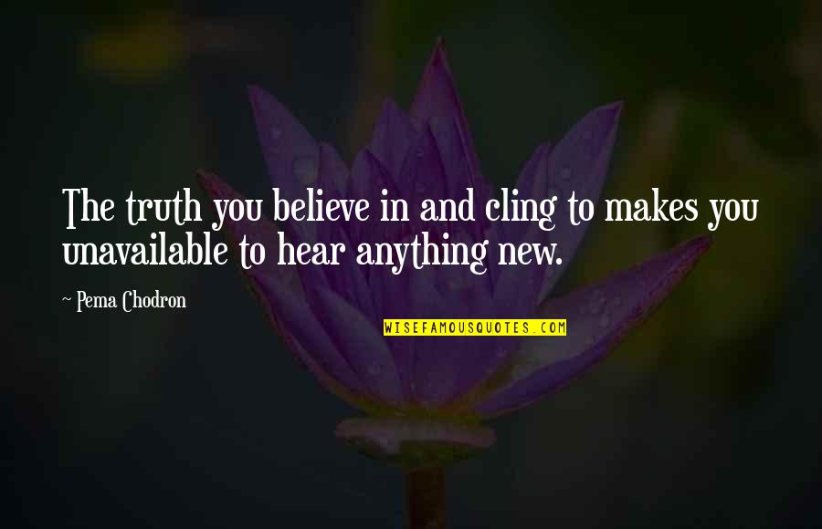 New You Quotes By Pema Chodron: The truth you believe in and cling to