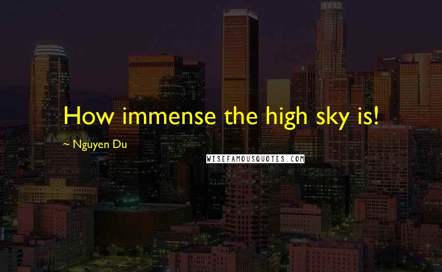Nguyen Du quotes: How immense the high sky is!