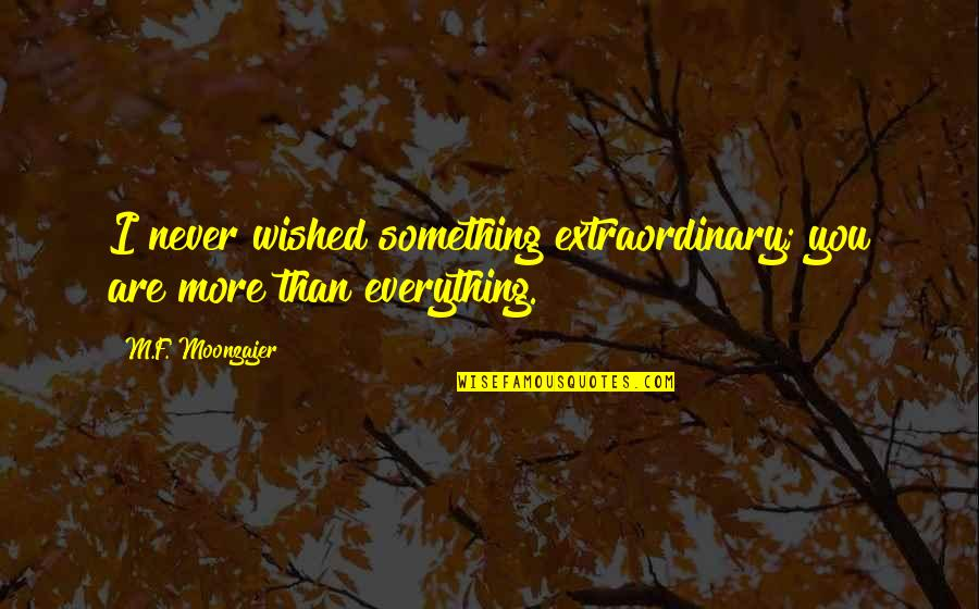Nice Poems And Quotes By M.F. Moonzajer: I never wished something extraordinary; you are more
