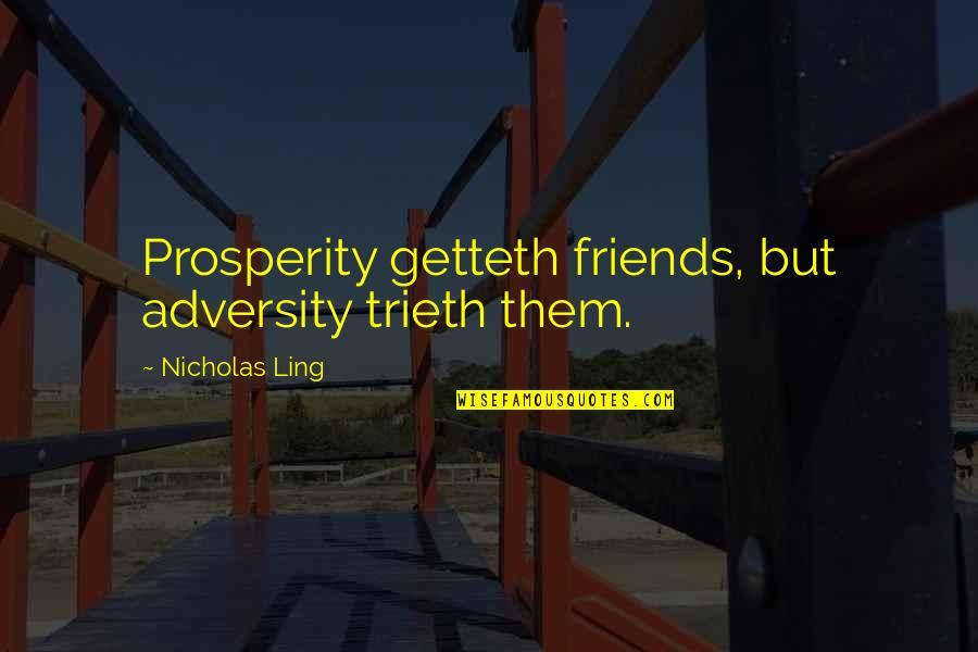 Nicholas O'flaherty Quotes By Nicholas Ling: Prosperity getteth friends, but adversity trieth them.