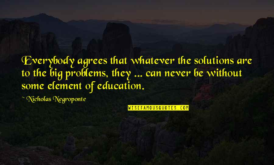 Nicholas O'flaherty Quotes By Nicholas Negroponte: Everybody agrees that whatever the solutions are to