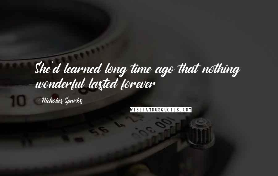 Nicholas Sparks quotes: She'd learned long time ago that nothing wonderful lasted forever