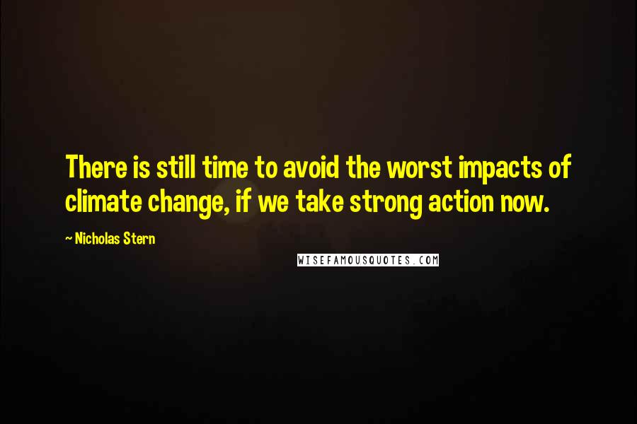 Nicholas Stern quotes: There is still time to avoid the worst impacts of climate change, if we take strong action now.