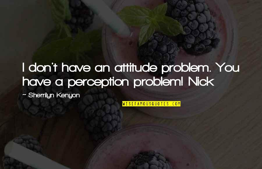 Nick Quotes By Sherrilyn Kenyon: I don't have an attitude problem. You have