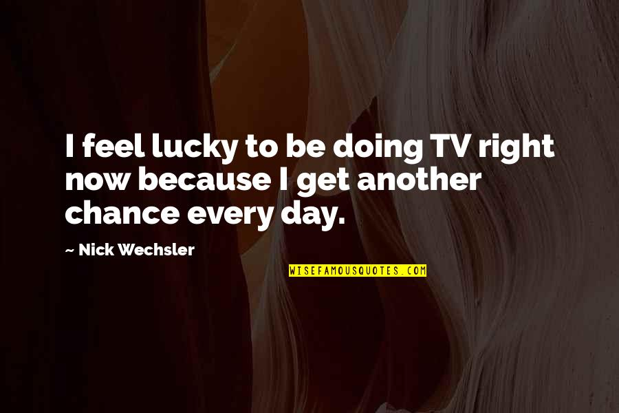 Nick Wechsler Quotes By Nick Wechsler: I feel lucky to be doing TV right
