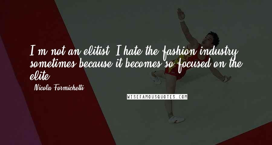 Nicola Formichetti quotes: I'm not an elitist. I hate the fashion industry sometimes because it becomes so focused on the elite.