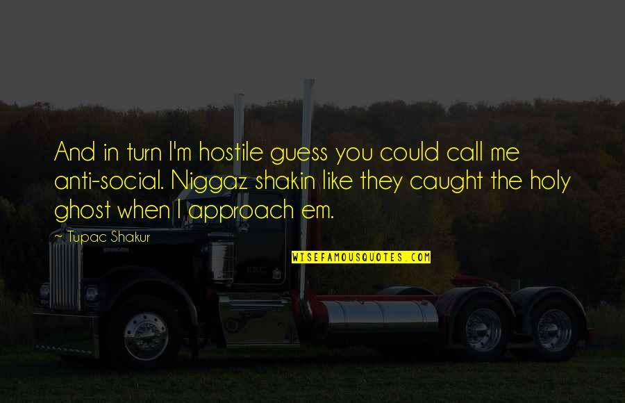 Niggaz Quotes By Tupac Shakur: And in turn I'm hostile guess you could