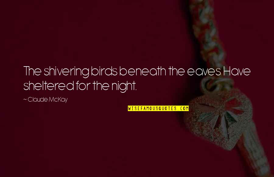 Night Birds Quotes By Claude McKay: The shivering birds beneath the eaves Have sheltered