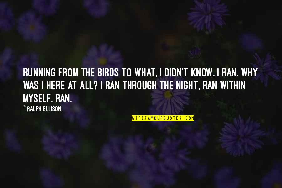 Night Birds Quotes By Ralph Ellison: Running from the birds to what, I didn't