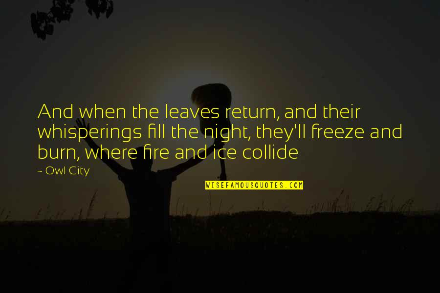 Night City Quotes By Owl City: And when the leaves return, and their whisperings