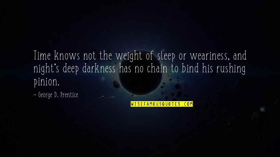 Night Darkness Quotes By George D. Prentice: Time knows not the weight of sleep or