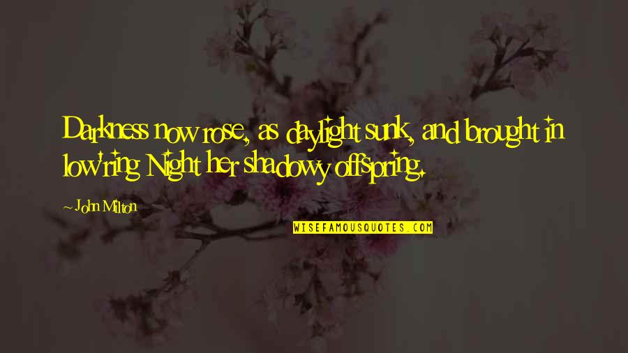 Night Darkness Quotes By John Milton: Darkness now rose, as daylight sunk, and brought