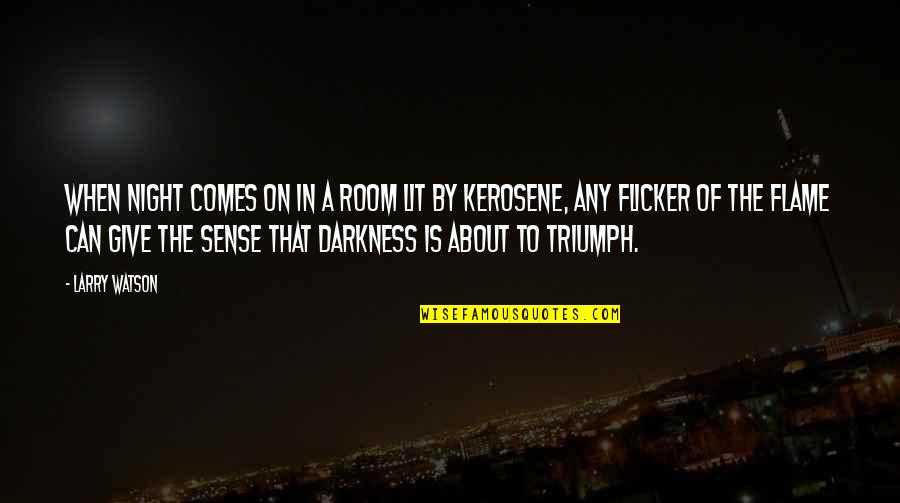 Night Darkness Quotes By Larry Watson: When night comes on in a room lit