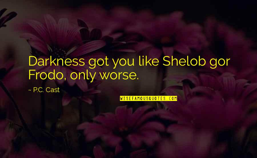 Night Darkness Quotes By P.C. Cast: Darkness got you like Shelob gor Frodo, only