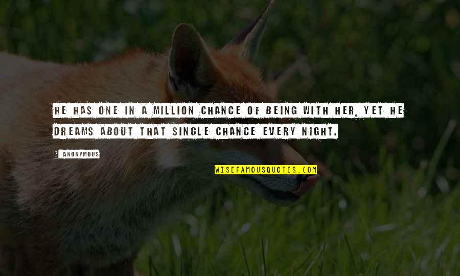 Night Dreams Quotes By Anonymous: He has one in a million chance of