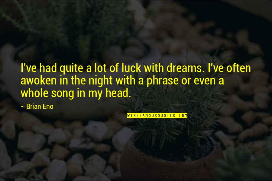 Night Dreams Quotes By Brian Eno: I've had quite a lot of luck with