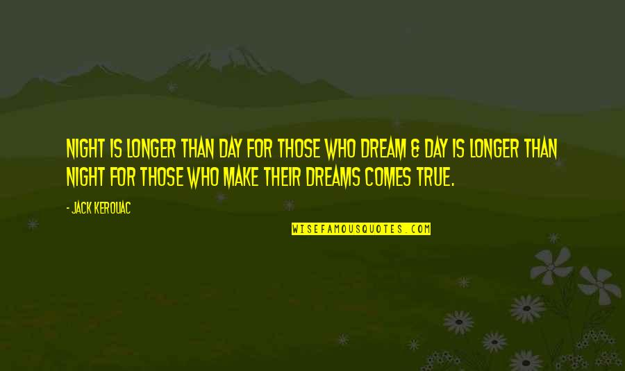 Night Dreams Quotes By Jack Kerouac: Night is longer than day for those who