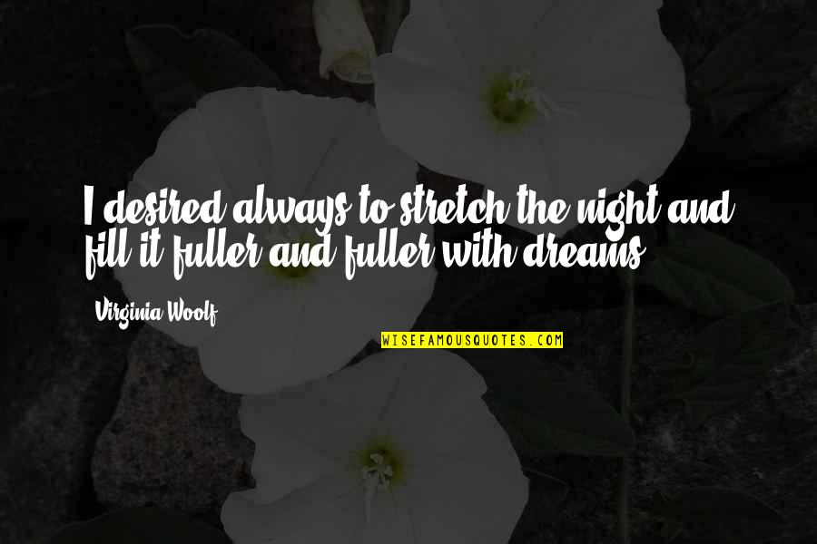 Night Dreams Quotes By Virginia Woolf: I desired always to stretch the night and