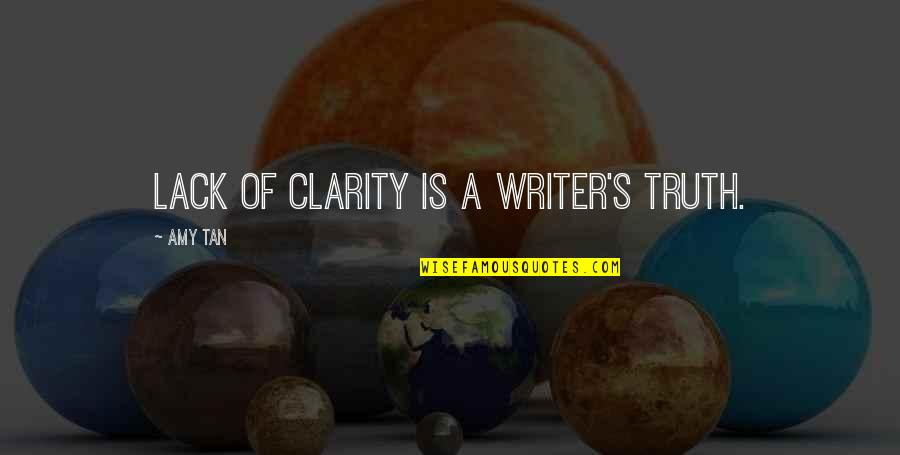Night Time Love Quotes By Amy Tan: Lack of clarity is a writer's truth.
