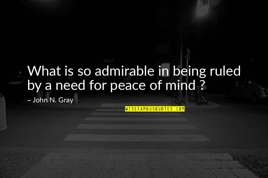 Nightand Quotes By John N. Gray: What is so admirable in being ruled by