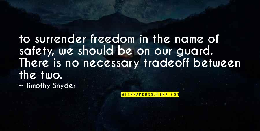 Nightmare On Elm Street 2 Quotes By Timothy Snyder: to surrender freedom in the name of safety,