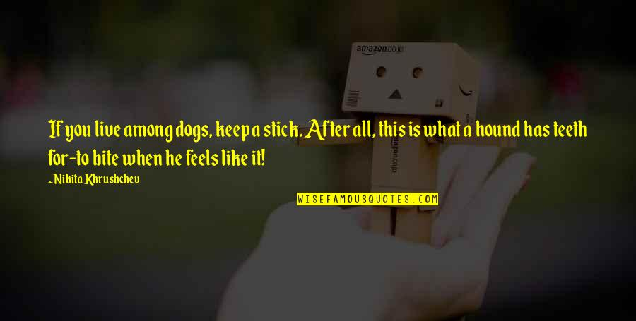 Nikita's Quotes By Nikita Khrushchev: If you live among dogs, keep a stick.