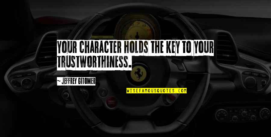 Nikki Bella Inspirational Quotes By Jeffrey Gitomer: Your character holds the key to your trustworthiness.