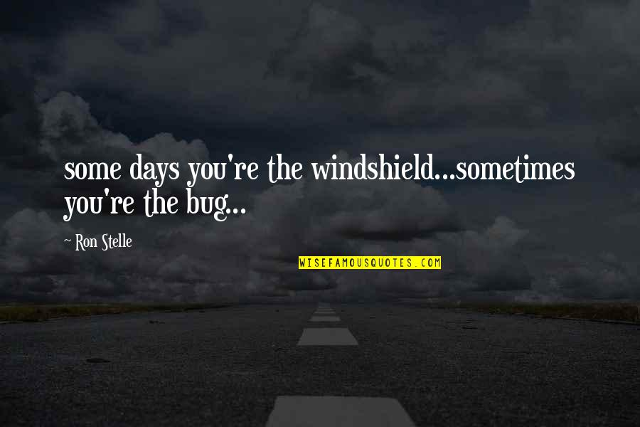 Niloko Quotes By Ron Stelle: some days you're the windshield...sometimes you're the bug...