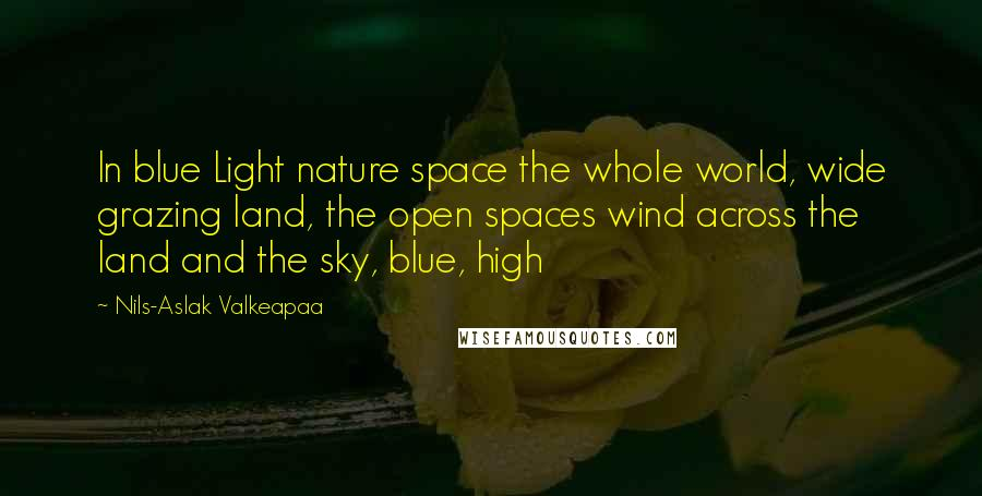 Nils-Aslak Valkeapaa quotes: In blue Light nature space the whole world, wide grazing land, the open spaces wind across the land and the sky, blue, high
