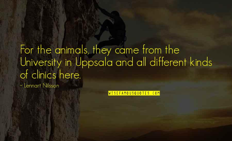 Nilsson Quotes By Lennart Nilsson: For the animals, they came from the University